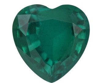 Emerald Synthetic Lab Created Loose Gemstone Heart Cut 1A Quality 8mm TGW 1.40 cts.