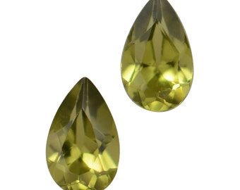 Italian Idocrase Set of 2 Pear Cut Faceted Loose Gemstones 1A Quality 5x3mm TGW 0.40 cts.