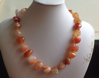 Natural Carnelian beaded Necklace Gemstone Amber Colour Handmade Semi Precious