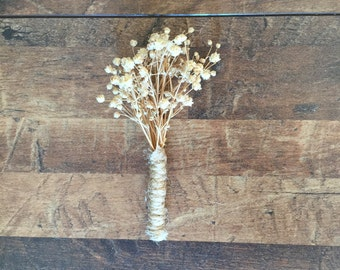 Dried White OR Natural Baby's Breath Boutonniere for Groom - Rustic Wedding - Country Wedding - Elegant Wedding - Simple - Twine