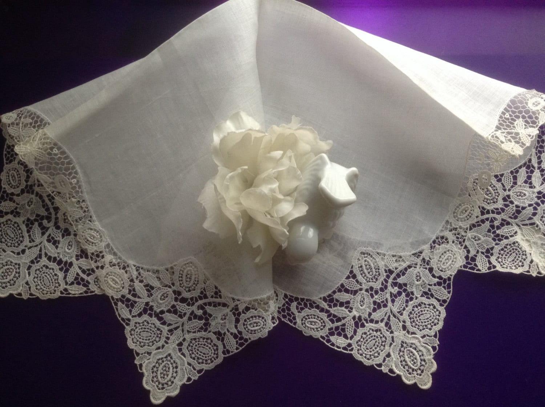 Wedding Handkerchief Bride Desco Lace Antique Hankie