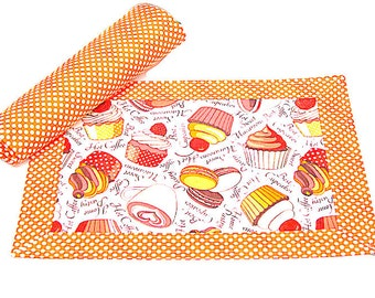 Colorful cupcake placemat – Set of 4 Set of 2 mat – Orange white dot fabric cloth mat – Party picnic quilt table mat – Children padded mat