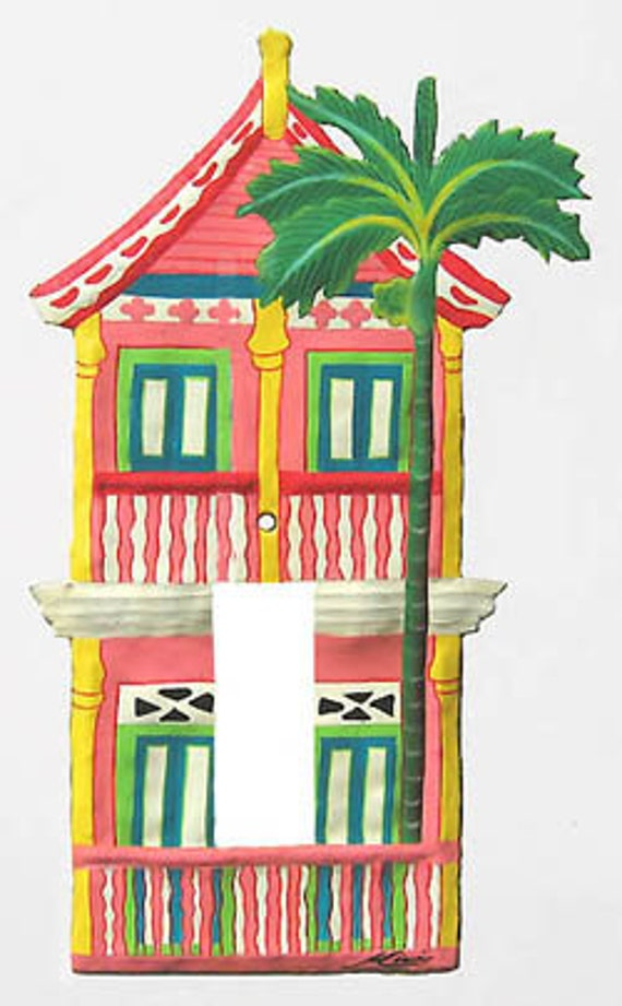 Caribbean Gingerbread House Switch Plate - Hand painted metal rocker ...