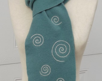 Wool Scarf Woman's Gift Teal With Felted Celtic Spiral Design