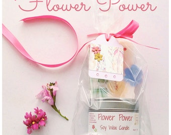 Floral gift set,  One soap and one candle in a gorgeous fragragrance of Rose, Jasmine, Frankincense and Patchouli,