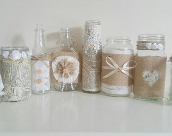 wedding jars, mason jars, shabby chic wedding decor, rustic wedding centrepieces, burlap wedding, country wedding, woodland wedding, 20 pcs