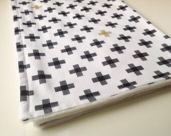 Baby blanket - Monochrome baby blanket - Minky baby blanket - Modern baby blanket - Black and white baby blanket - Geometric baby blanket