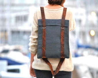 Personalized backpack, waterproof canvas, leather straps, custom backpack 101