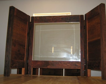 Rustic Folding free standing! Vanity mirror! Made from reclaimed Barn wood.