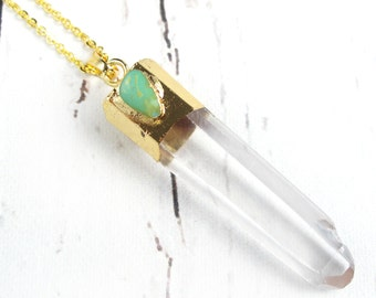 Bohemian Jewelry-Boho Crystal Necklace-Gold Plated Quartz Crystal Necklace-Natural Gemstone and Turquoise Jewelry-Boho Gift For Her