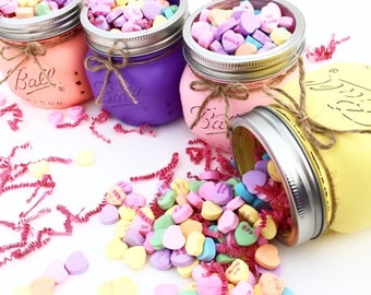 Valentines Day Mason Jar, Valentine, Valentines Day Gift, Mason Jars, Conversation Hearts, Valentines Day, Valentine for Teacher, Decor