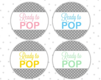 Ready to pop stickers - Ready to pop labels - Ready to pop baby shower - Shes ready to pop stickers - Baby shower stickers (RW001)