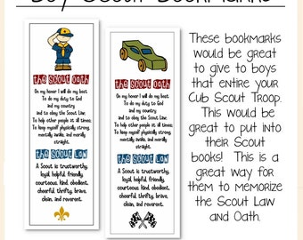 Cub Scouts Law and Oath Bookmarks