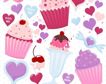 Digital Valentine Sweets, Cupcake Clipart, Digital Cupcakes, Valentine Cupcake Clipart