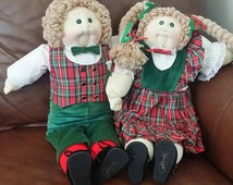 Claud and Sandy Soft Sculpture Christmas Edition Cabbage Patch Twins Dolls with Papers