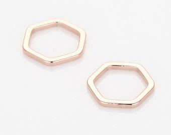 Hexagon Pendant, Geometric jewelry Supplies Matte Rose Gold- Plated - 4 Pieces [P0572-MRG]