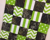 Camo Blanket - Patchwork Blanket - Mossy Oak Camo - Lime Blanket - Baby Blanket - Baby Quilt - Minky Blanket - Baby Crib Blanket