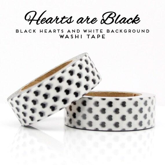 Black Hearts on White Background Washi Tape
