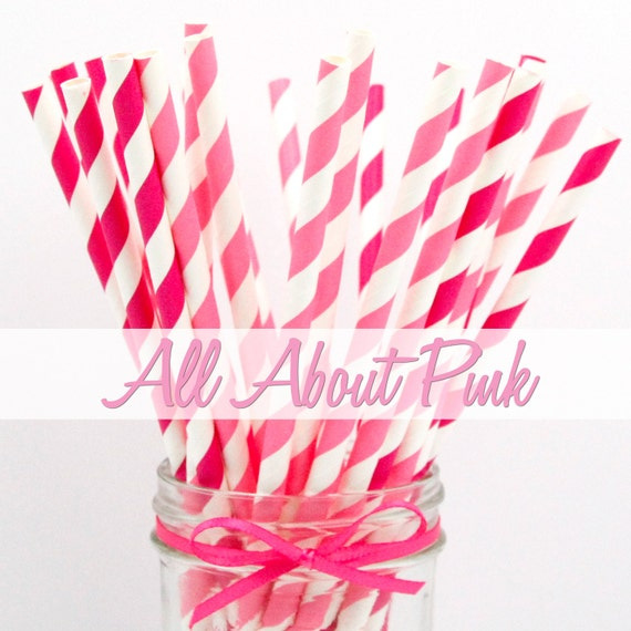 MAGENTA & PINK STRIPPED- Magenta and Pink Stripped Combination Paper Straws - Party Paper Straws - Wedding - Birthday Decorations