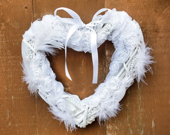Wedding heart, Wedding shabby chic wreath, Heart wall decoration, Luxury wedding decor, White heart decoration