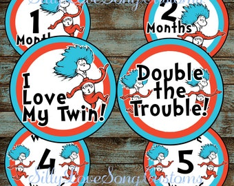Thing 1 & Thing 2 Twins Printable Monthly Baby Stickers or Weekly Bump Stickers! DIGITAL FILES! 4inch Rounds