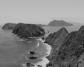 Channel Islands, Anacapa Island, Mountains, Ocean, Black and White, Ventura, California