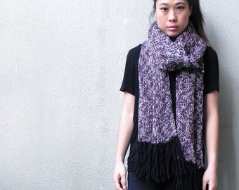 Handknit, Chunky, Oversized Scarf, Purple, Black, Fringing,  Winter, Scarf, Fall, Extra Long Scarf, Wool Scarf