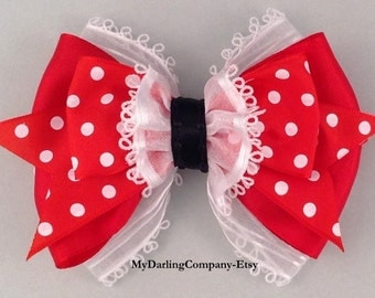 Minnie Mouse Costume Minnie Mouse Dress Red Wedding Red Bridesmaid Red Flower Girl Red Polka Dot Dress Red Headband Red Toddler Hair Bow