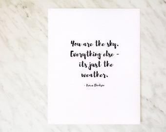 Wall Print/ Wall Art / You Are The Sky / Pema Chodron Print