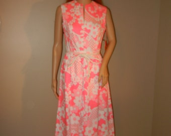 Vintage Hot Pink Gregg Draddy Floral Ladies Dress, 1960's/70's - With Tags, Size 8
