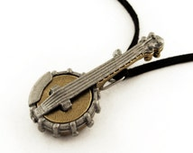 5-String Banjo Necklace, Bluegrass Pendant, Music Jewelry