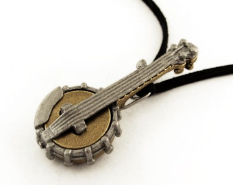 Banjo Necklace - 5-String Banjo, Bluegrass Pendant, Folk Music Jewelry