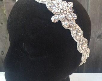 Vintage crystal Wedding Headband Tiara Bride Rhinestone Hairband Bling bride head piece bridal headband wedding headband crystal headband