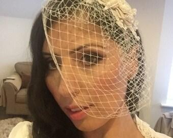 Champagne, Ivory, White Birdcage Veil- Ivory pearl, Crystal Bridal Fascinator-Wedding Headpiece wedding head piece and veil pearl comb