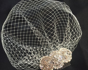 Rose gold comb Crystal Birdcage Veil and Comb  ,Crystal Veil and ivory pearls ivory veil with pearls bride headpiece vintage style art deco