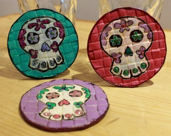 Sugarskull Coasters, Set of 3, Day of the dead