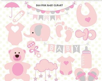 Baby Girl Clipart Set, Baby Stuff Clipart, Clip Art Graphic, Instant Download -D555
