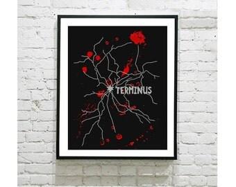 "The Walking Dead Digital Art Print - Terminus Map - Textured Digital Effect - Zombie - TWD - Grimes - Walker - Geek - TV Show - 8""x10"" Print"