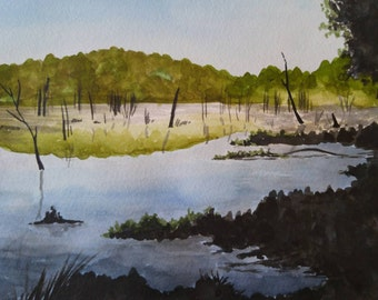 "Morning Pond.  Original watercolor painting 9""x12"""