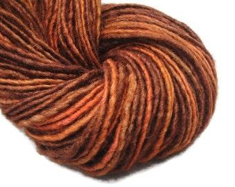 Hand spun hand dyed two ply worsted yarn, 160 yards, handspun yarn