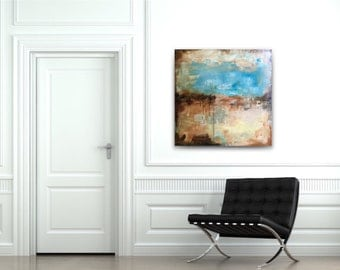 36x36 abstract painting,teal white gray beige,large abstract,seascape abstract,original abstract,acrylic canvas,big wall art,large abstract