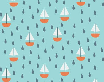 Ship Ahoy! in Turquoise, Spring Walk Collection by Little Cube for Cloud 9 Organic Fabrics 1105