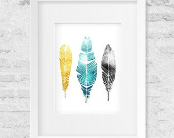 Feathers, Watercolor Illustration - Art Print