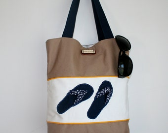 Canvas flip flop summer bag