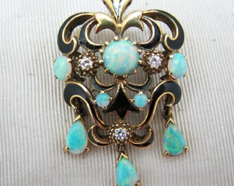 Vintage Black Enamel and Opal Pin/Brooch in 14k Yellow Gold