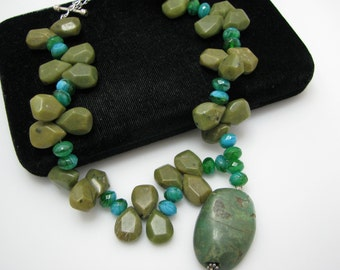 Unique Beaded Green Stone Necklace with Sterling Silver Clasp