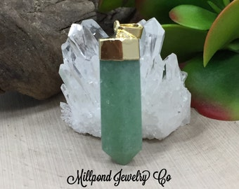 Green Quartz Point Pendant, Green Quartz Pendants, Green Quartz Charms, Natural Stone Pendants, Straight Point, 24K Gold Plated, PG3325
