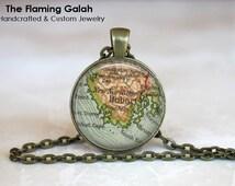 Vintage HOBART Map Pendant. Australia. Key Ring. Map Necklace. Silver/Bronze Pendant. Gift Under 20. Handmade in Australia (P1177)