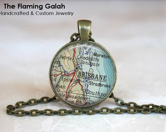 BRISBANE Map Pendant • Vintage Brisbane Map • Map of Brisbane • Old Brisbane Map • Gift Under 20 • Made in Australia (P1179)