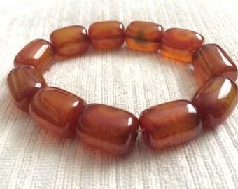 Natural agate beaded bracelet